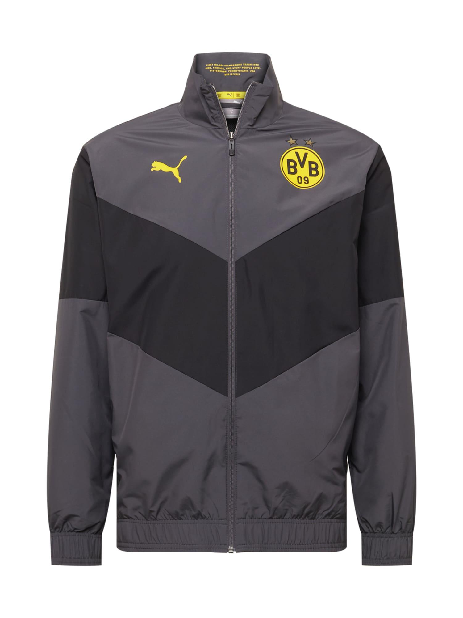 PUMA Giacca per l'allenamento 'BVB Prematch'  antracite / grigio scuro / giallo male shop the look