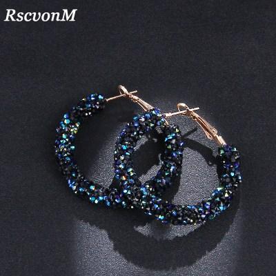 RscvonM Brand New Design Fashion Charm Austrian crystal hoop earrings Geometric Round Shiny rhinestone big earring jewelry women