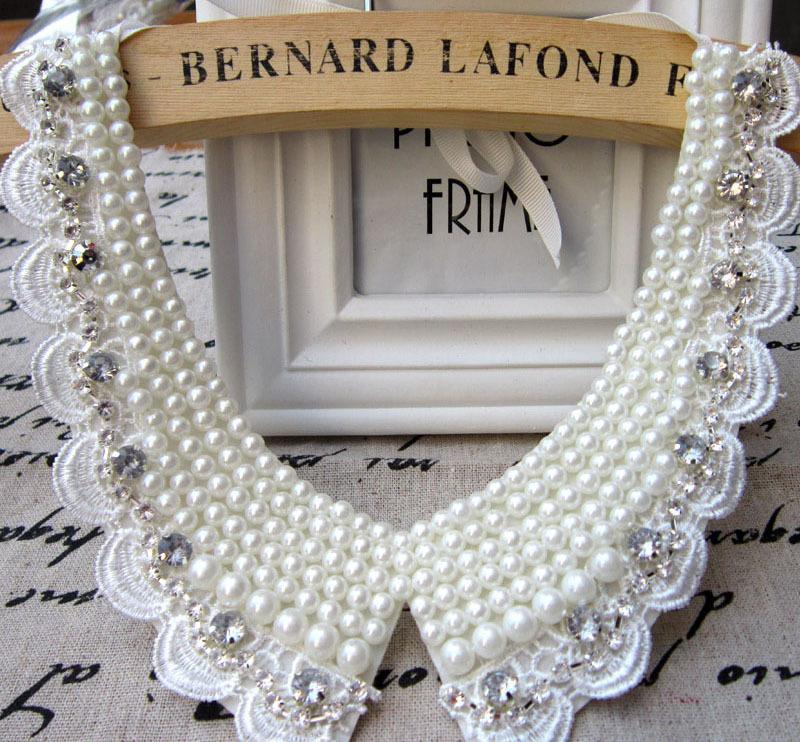 Charm Blue Shourouk Rose Flower Neon Dress False Collar Statement Necklaces & Pendants two flower lace bead collar