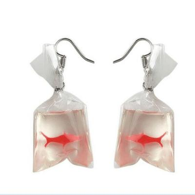 Fashion design acrylic fish Crystal pocket drop earrings Tassel Korean edition whimsy Exaggerated the goldfish earrings for girl