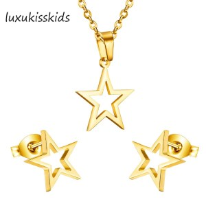 LUXUKISSKIDS Fashion gold Color Stianless steel five star jewelry sets, luxury set Earrings And pendant ,fashion jewelry earring