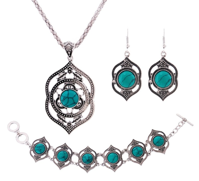 Hot Sale Copper Antique Silver Plated Necklace And Earring and Bracelet Set for Women Extravagant Jewelry Set for Girl