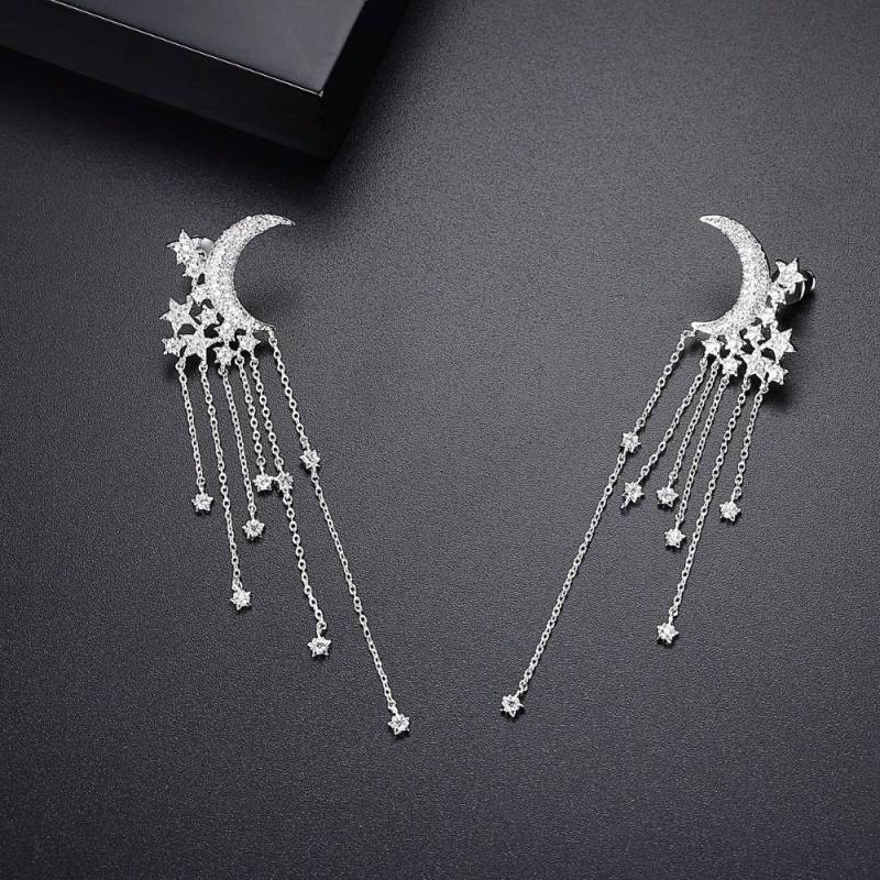 LUOTEEMI Luxury Moon and Stars Tassel Drop Earrings with Chain Accents and CZ Crystal Droplets In Silver Tone Earrings For Women