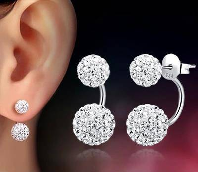 Lose money promotion wholesale Shambhala double ball design 30% percent silver plated ladies stud earrings jewelry 1pair/lot