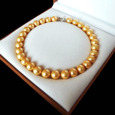 """AAA+ Jewelry Rare Huge 12mm Genuine South Sea Golden Shell Pearl Necklace Heart Clasp 18"""" Chain 925 Sterling Silver"""