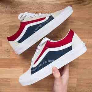 Vans Old Skool White/Gray/Red/Navy-Blue