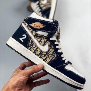 Dior x Nike Air Jordan High Top Navy Blue