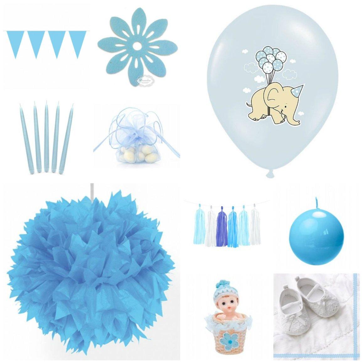 lyseblå barnedåb dreng bordpynt til barnedåb dekoration til barnedåb balloner til barnedåb balloner med elefanter guide til barnedåb lyseblå kuglelys dekoration til barnedåb