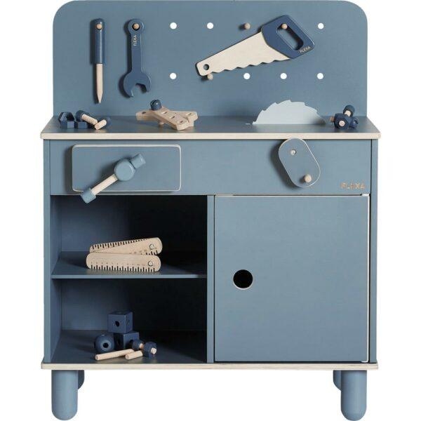 arbejdsbænk til børn børneværksted værktøjsbænk til børn flexa blå arbejdsbænk gave til 2 årig dreng gave til 3 årig dreng