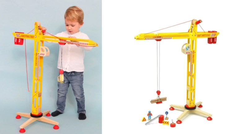 legetøjskran trælegetøj kran i træ legetøj