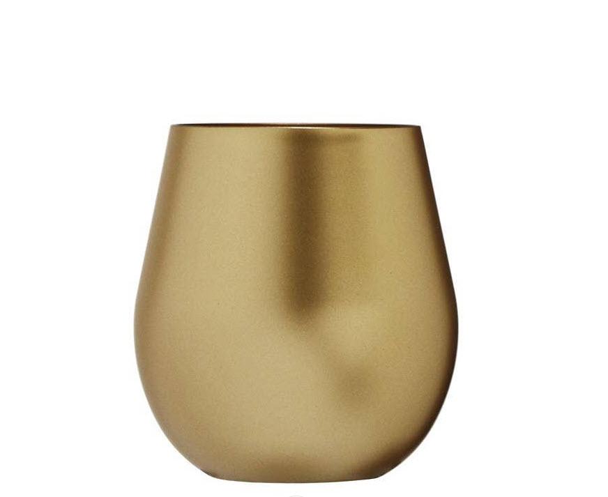 Delmas metallic stemless wine glass