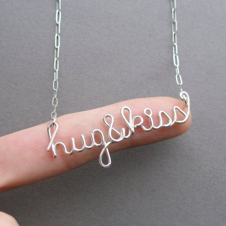Etsy Valentines Day Gifts Hugs and Kisses Sterling Silver handmade necklace from Etsy