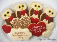 owl and heart sugar cookies