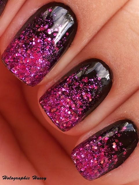 burgundy sequin nails