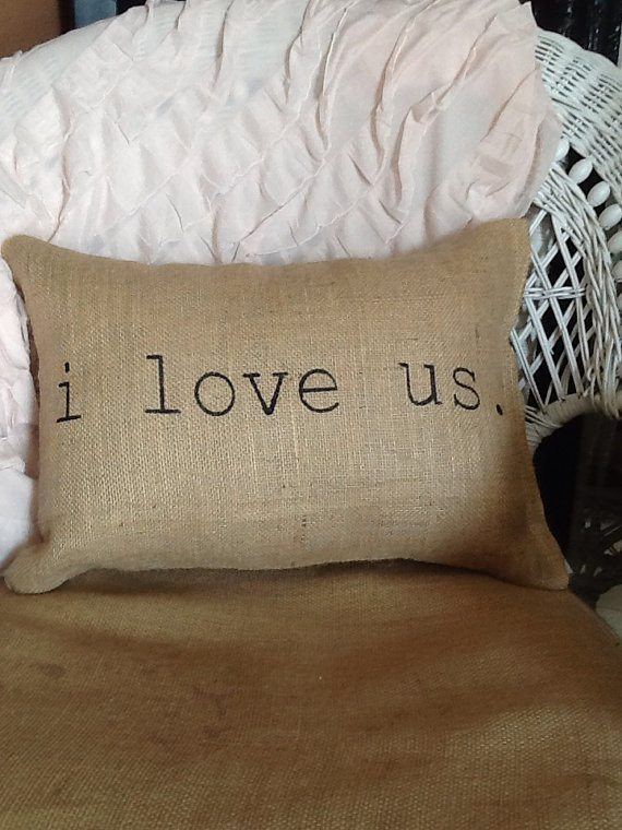 I love us burlap pillow