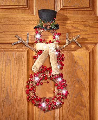 Lighted Country Berries Snowman Wreaths