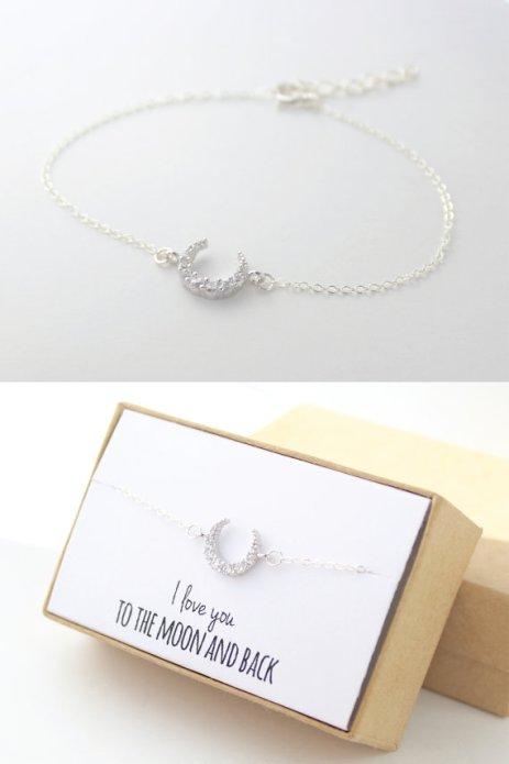 Silver Crescent Moon Handmade Bracelet