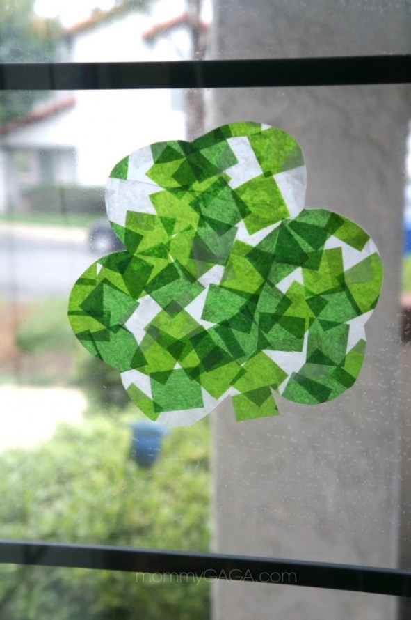 Stained Glass Tissue Paper Shamrocks