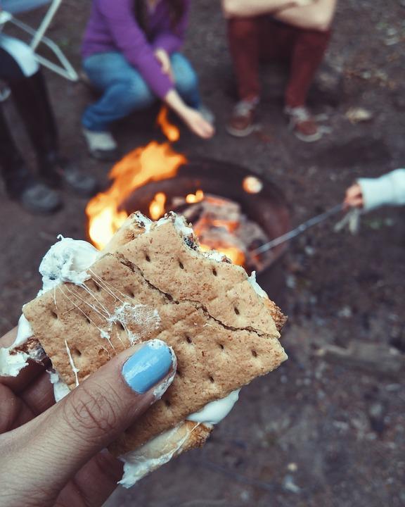backyard camping smores