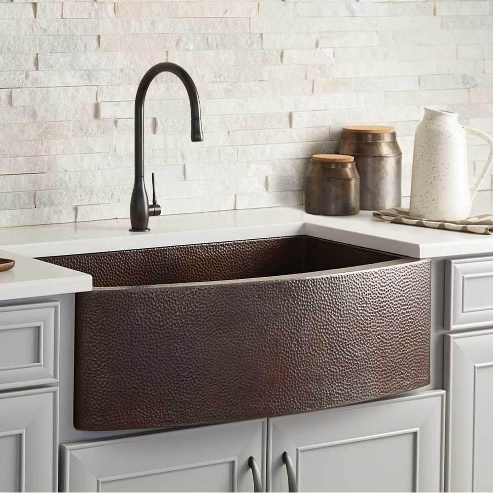 rhapsody farmhouse kitchen sink in antique copper
