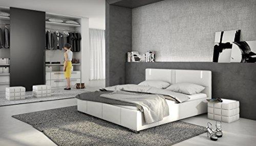 Accura Designerbett mit LED / 140x200cm Bett / Polsterbett / Doppelbett / Kunstleder - weiß