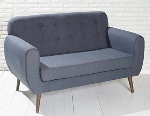 Polstersofa in dunkelgrau mit Holzbeinen Sofa Loungesofa Couch Zweisitzer Loungemöbel