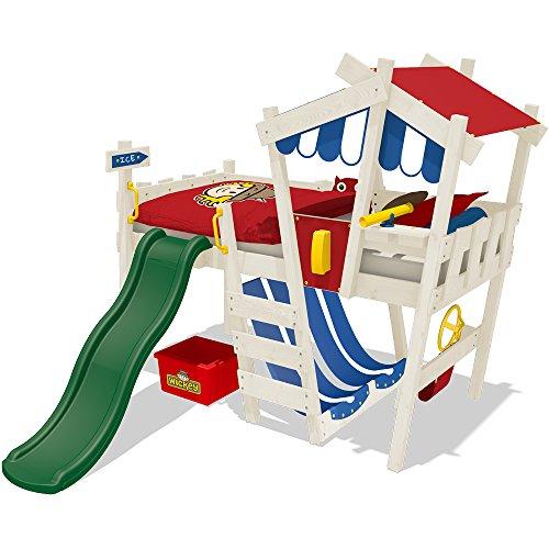 WICKEY Kinderbett CrAzY Hutty Hochbett Abenteuerbett - Rot-Blau + grüne Rutsche + weiße Farbe