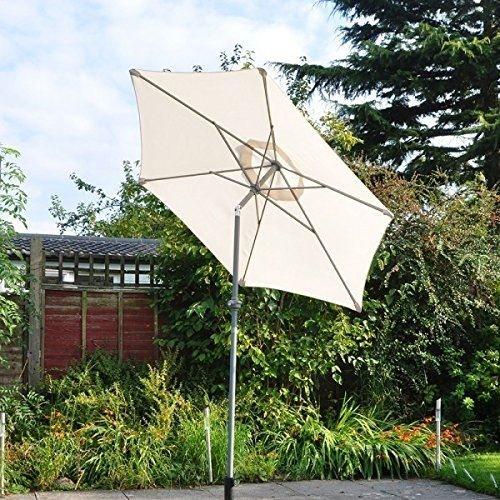2m leichte Aluminium-Outdoor Sonnenschirm in Creme oder Schwarz