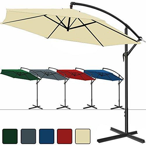 Alu Ampelschirm Ø 300 cm, höhenverstellbar mit Kurbelvorrichtung - Sonnenschirm Schirm Gartenschirm Marktschirm