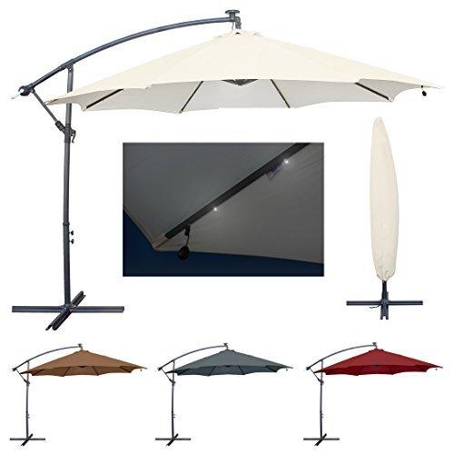 Miweba Aluminium Sonnenschirm Sunny mit LED 350cm Durchmesser 50+ UV Schutz inklusive Schutzhülle Ampelschirm Marktschirm Kurbelschirm Gartenschirm