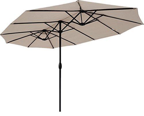 Sekey® 270 × 460 cm Aluminium Doppelsonnenschirm Marktschirm Gartenschirm Terrassenschirm Sonnenschutz UV50+ Taupe