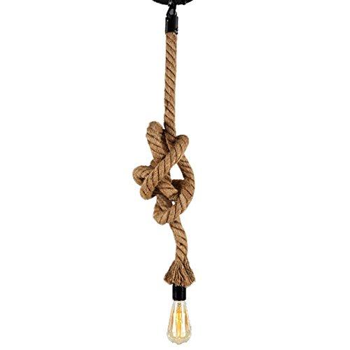 Retro Pendelleuchte Vintage Hanf Seil Hängelampe 100CM AC220V 1X E27 Fassung (ohne Birne) für Wohnzimmer Bar Öffentliche Plätze Dekor Rustic Hanfseil Decke Kronleuchter (1M)