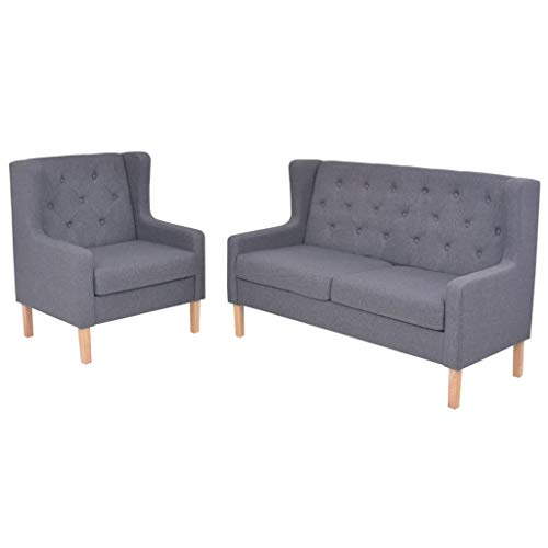 Zora Walter Sofa-Set 2-TLG. Holzrahmen + Stoffpolsterung Grau Couch Schlafsofa Polstersofa Bettsofa Mit Sessel,2-Sitzer-Sofa
