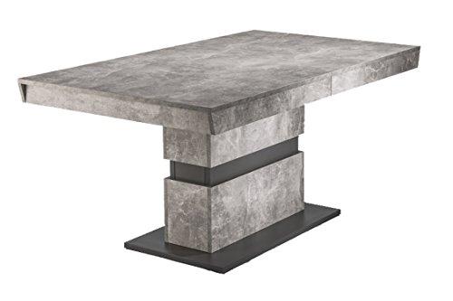 CAVADORE Esszimmertisch MARLEY / moderner Küchentisch 160 cm mit Auszugsfunktion auf 220 cm / Auszugstisch in Light Atelier Beton Optik grau / 160-220 x 90 x 75cm (LxBxH)