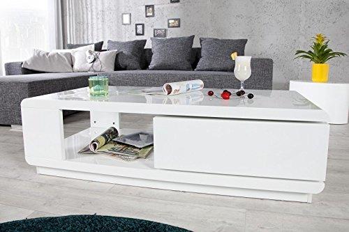 DuNord Design couchtisch weiß hochglanz modern Sofatisch TREND 120cm weiss Tisch Lounge Möbel