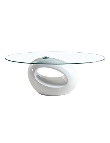 GOLDFAN Designer Couchtisch Weiß Hochglanz Oval Wohnzimmertisch mit Glasplatte Beistelltisch Modern Wohnzimmer Möbel