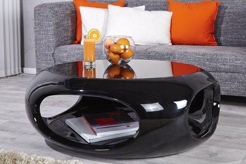 Invicta Interior Moderner Design Couchtisch Spin II 75 cm Hochglanz schwarz Beistelltisch