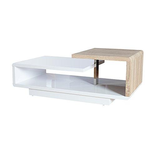 Stylischer Design Couchtisch CONCEPT 100cm Hochglanz weiß Sonoma Eiche