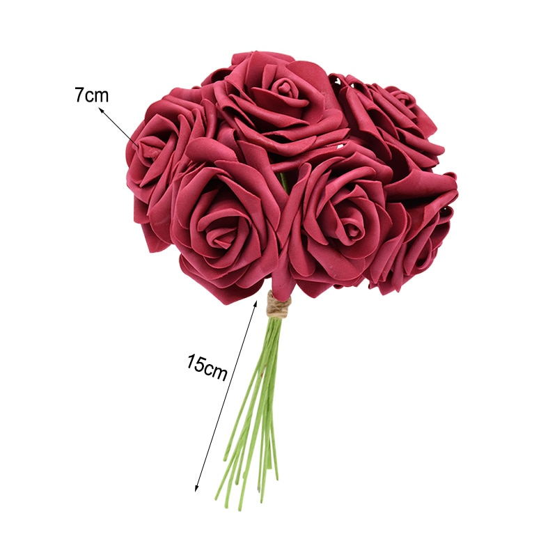 Set of 24 Colorful Artificial Roses