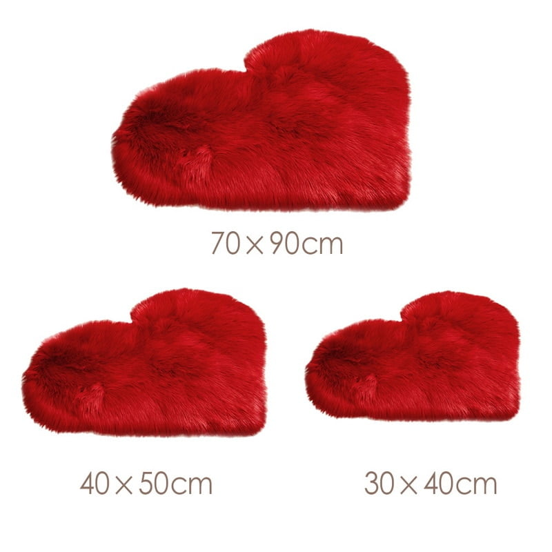 Artificial Sheepskin Fluffy Heart Shaped Rug