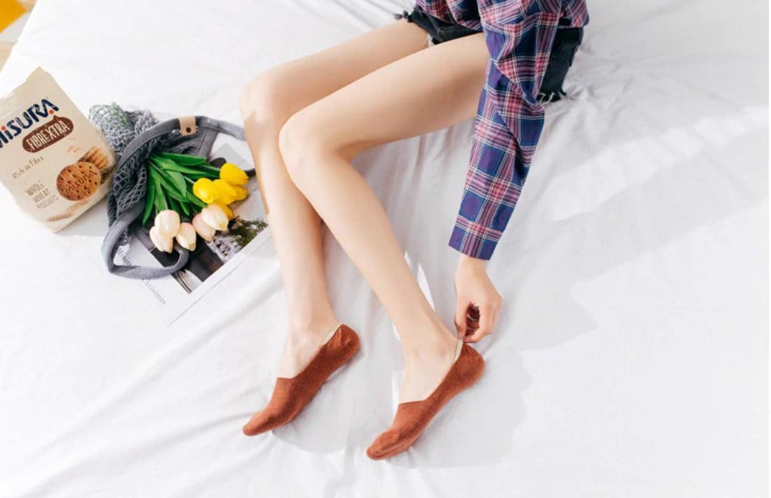 Women's Solid Color Slipper Socks 5 Pairs Set
