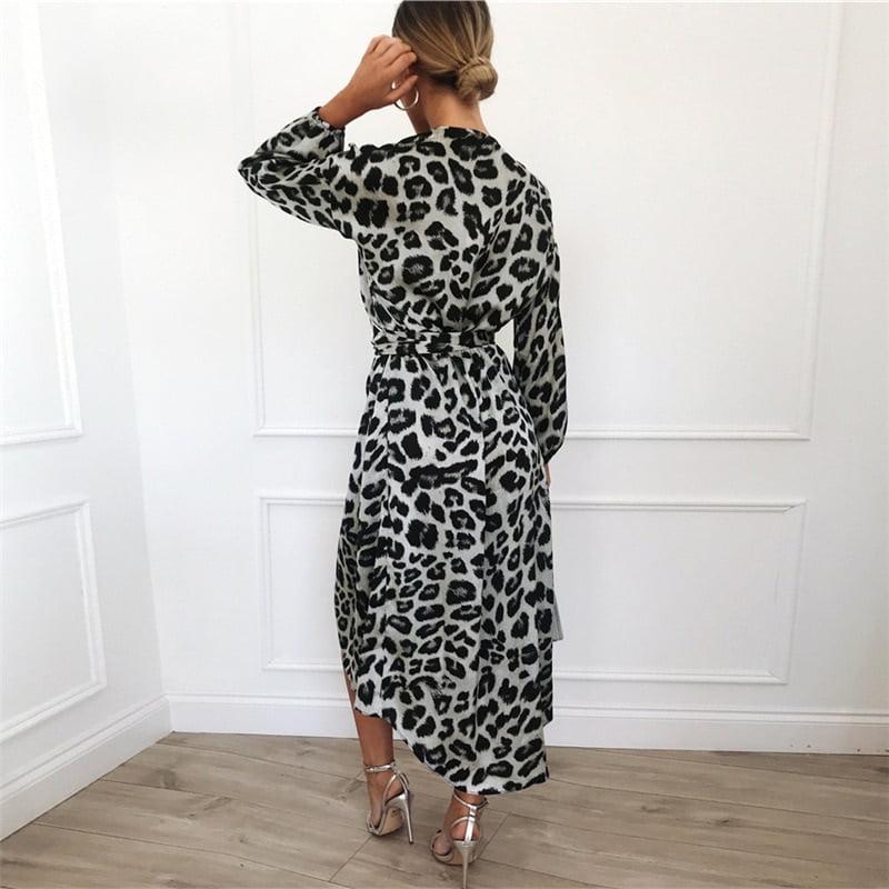 Women's Long Leopard Printed Dress