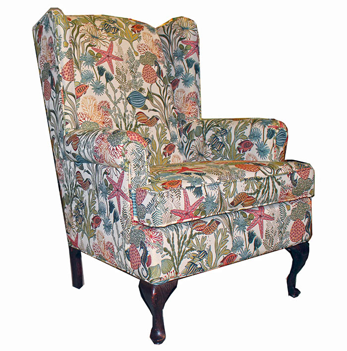 sealife and seaweed wing back chair