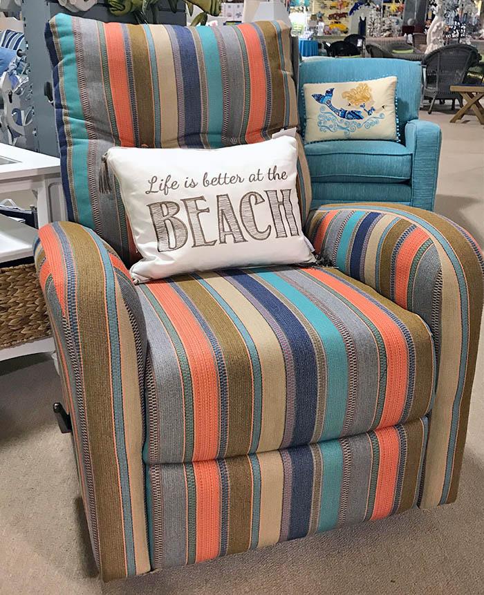 orange striped recliner chair