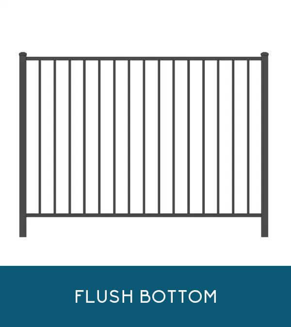 Oceanview aluminum fencing with flush-bottom pickets   Coastal Aluminum