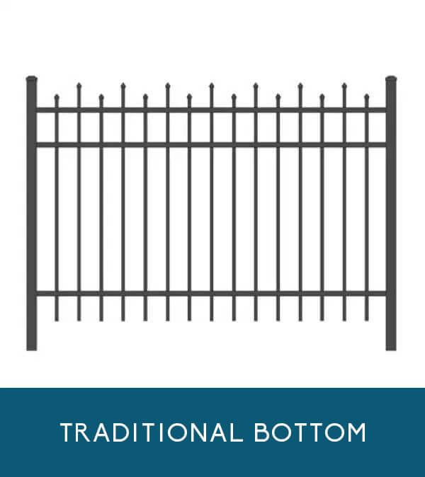 Wavecrest aluminum fencing with traditional picket bottom | Coastal Aluminum