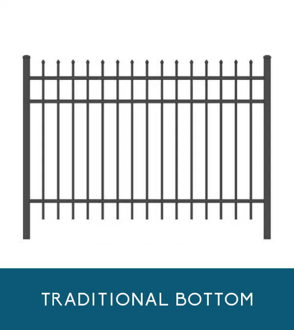 Sailwind aluminum fencing with traditional picket bottom | Coastal Aluminum