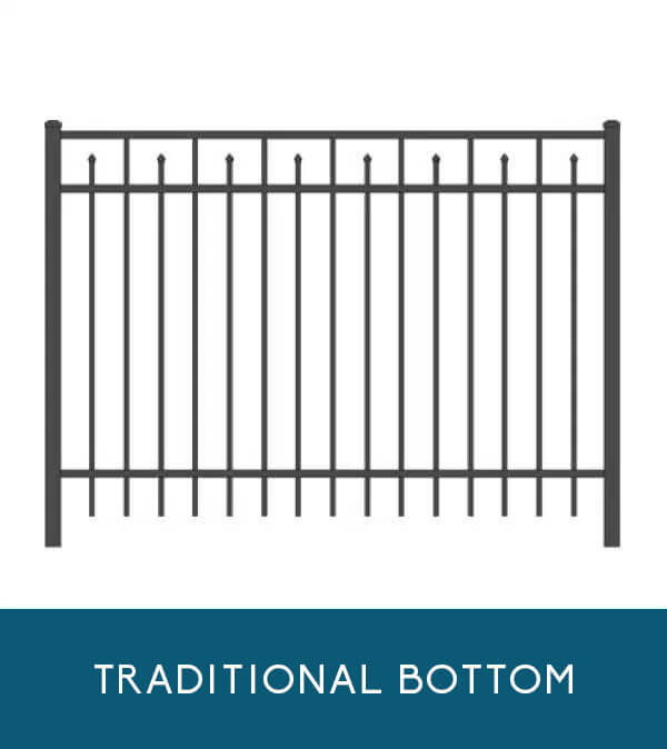 Waterfront aluminum fencing with traditional picket bottom | Coastal Aluminum