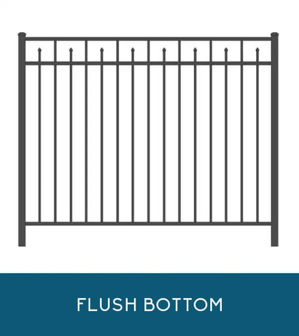 Waterfront aluminum fencing with flush-bottom pickets | Coastal Aluminum