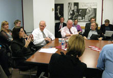 Maralee Schwartz, Alex S. Jones, Bill Purcell, Dick Cavanagh, and Thomas Patterson.